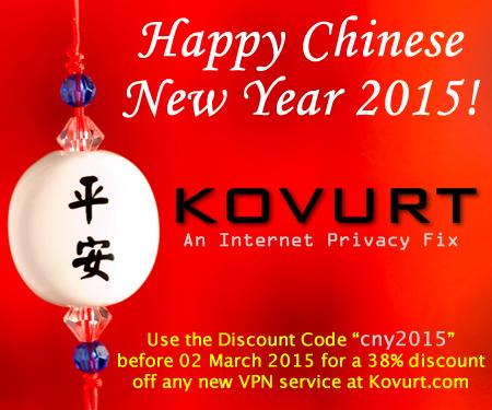Chinese New Year 2015 Discount Code on VPN at Kovurt